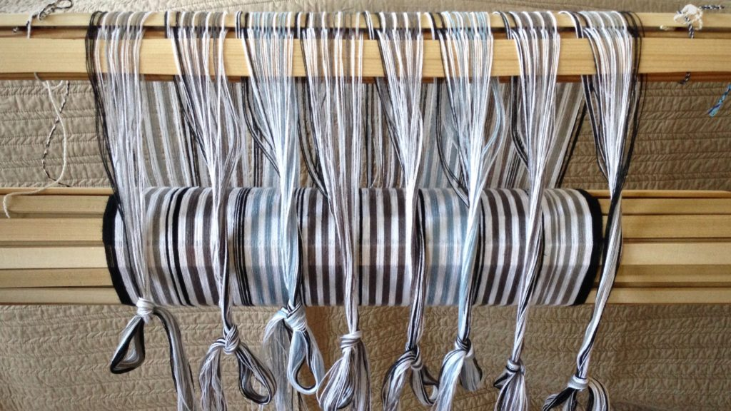 Striped warp for cottolin and linen towels. Glimakra Ideal.