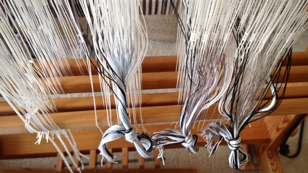 Threading the loom for plattväv towels.
