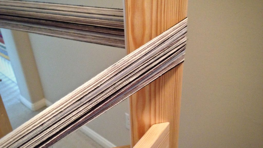 Winding a warp with narrow stripes. Plattväv towels.