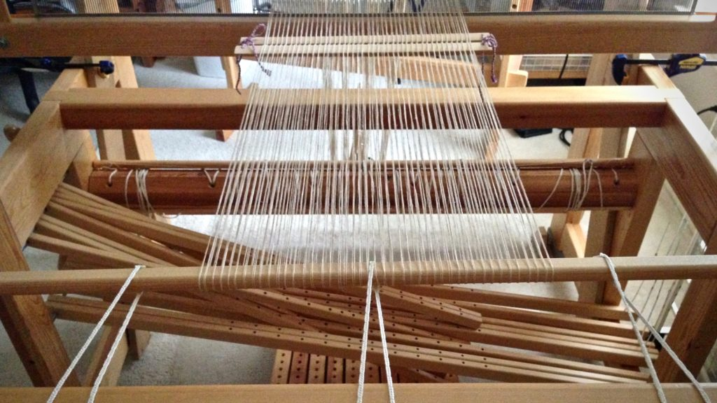 Ready to begin beaming this linen warp.