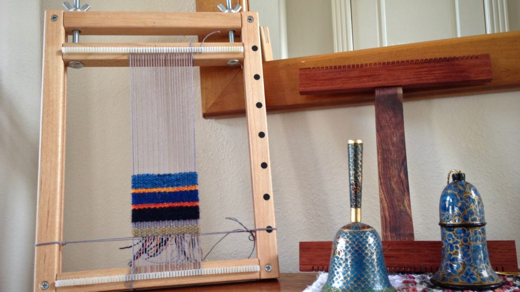Comparing two small looms--hand-built and Hokett.