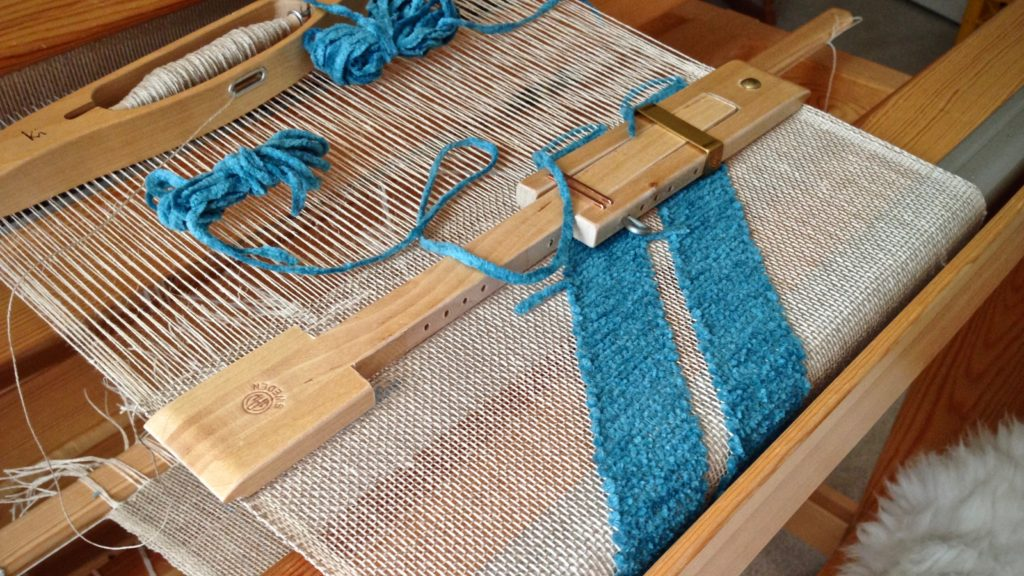 Weaving a transparency. Glimakra Standard loom.