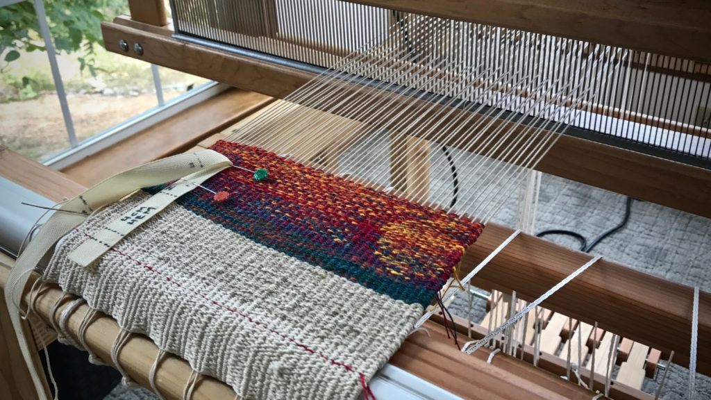 Tapestry / inlay sampler on small countermarch loom.