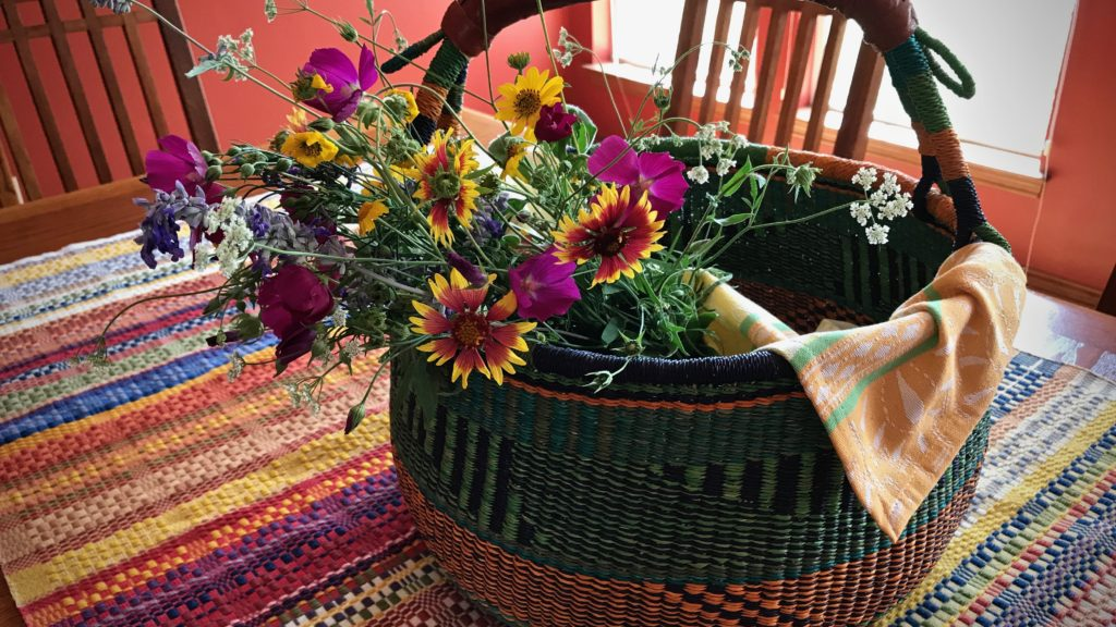 Texas wild flower bouquet. Monksbelt cloth on the table.