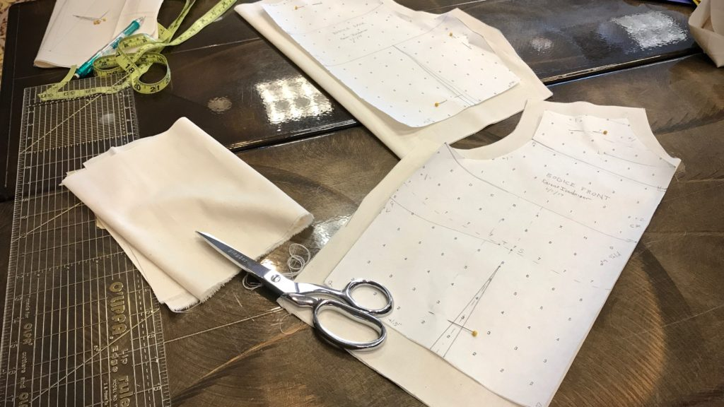 Making a muslin in Michele Belson's workshop.