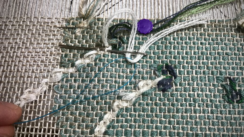 Weaving hack using dental floss threader!