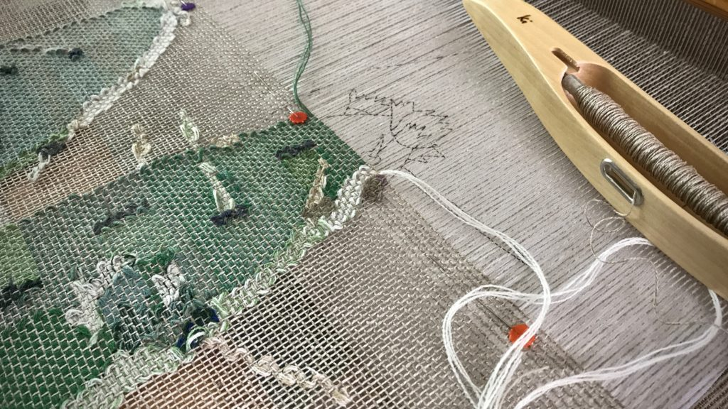 Almost finished woven transparency of prickly pear cactus!