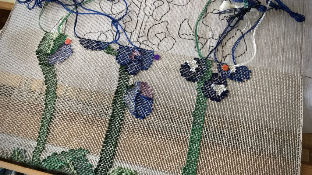 Texas bluebonnets in a woven transparency...in progress!