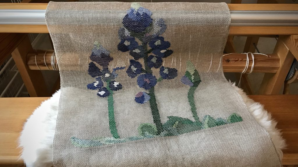 Bluebonnets woven transparency just off the loom!