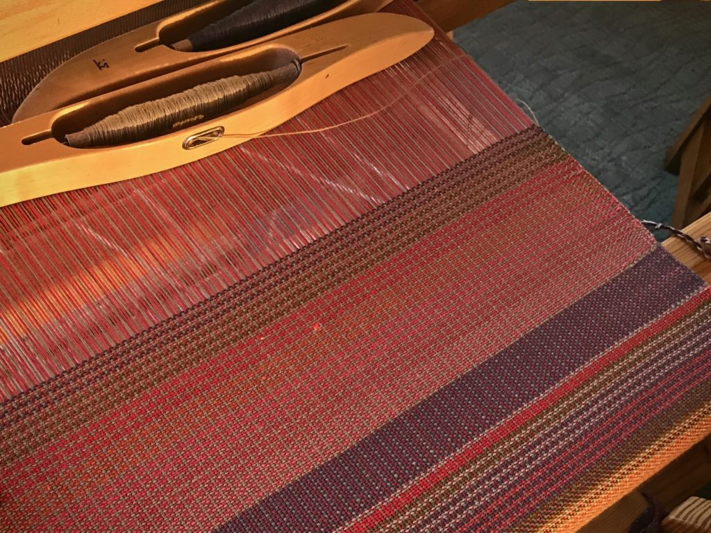 Weaving at dusk fails to show true impact of the colors.