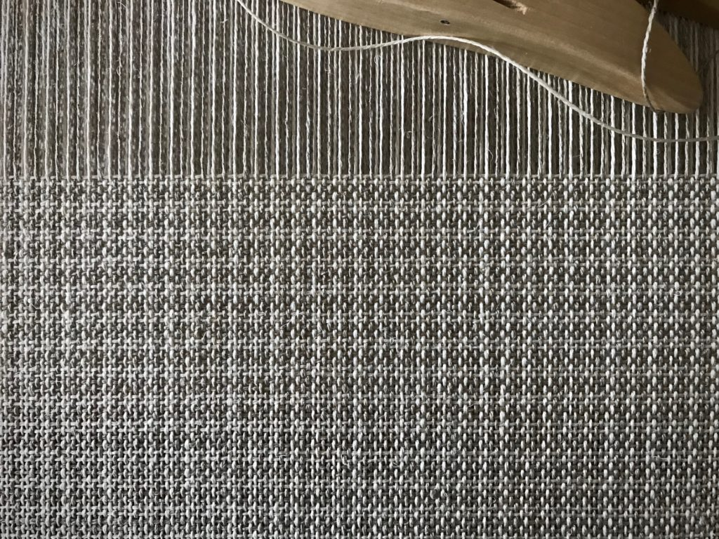 Warp and weft stripes in linen.