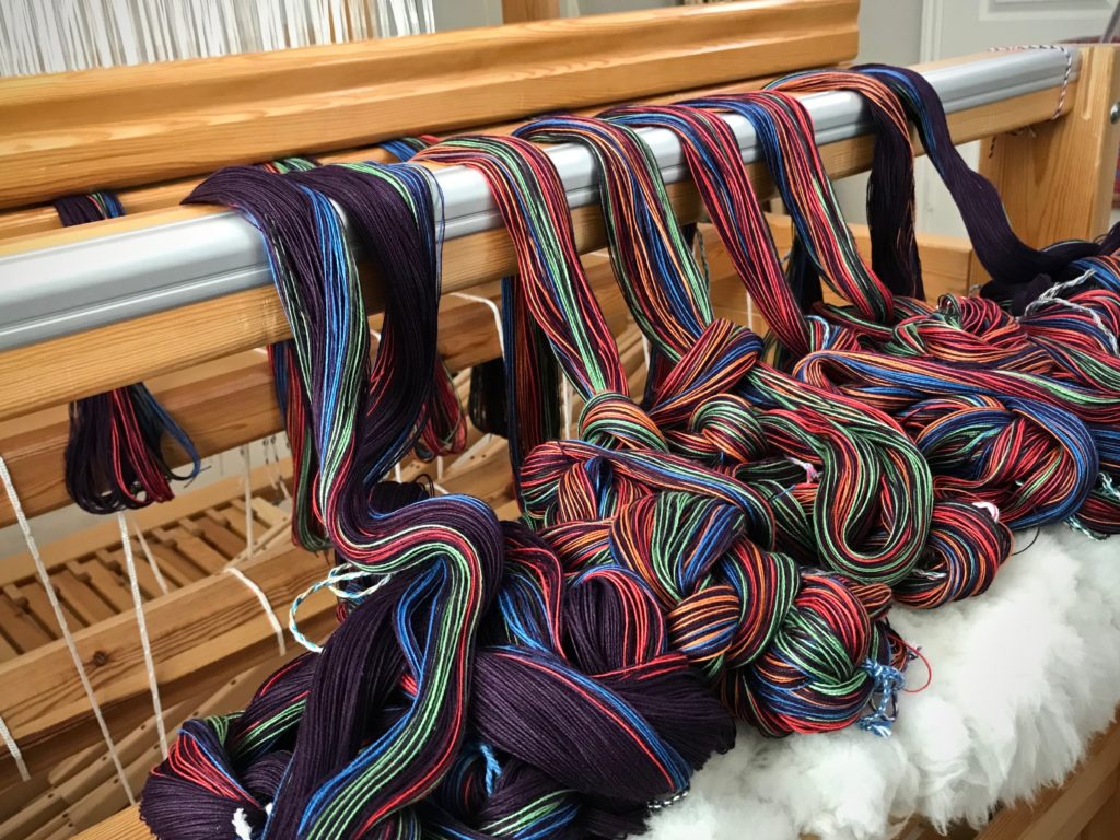 Eight warp chains...to correct a huge winding error.