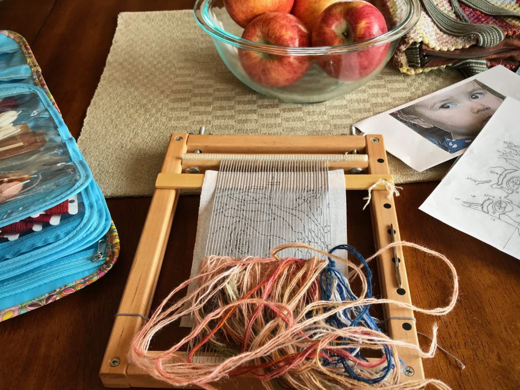 Small tapestry in progress. Travel weaving.