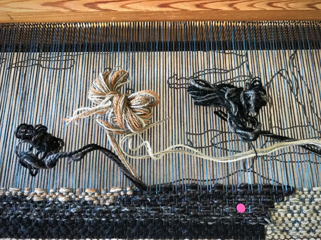Wool butterflies for a four-shaft tapestry on the Glimakra Ideal.