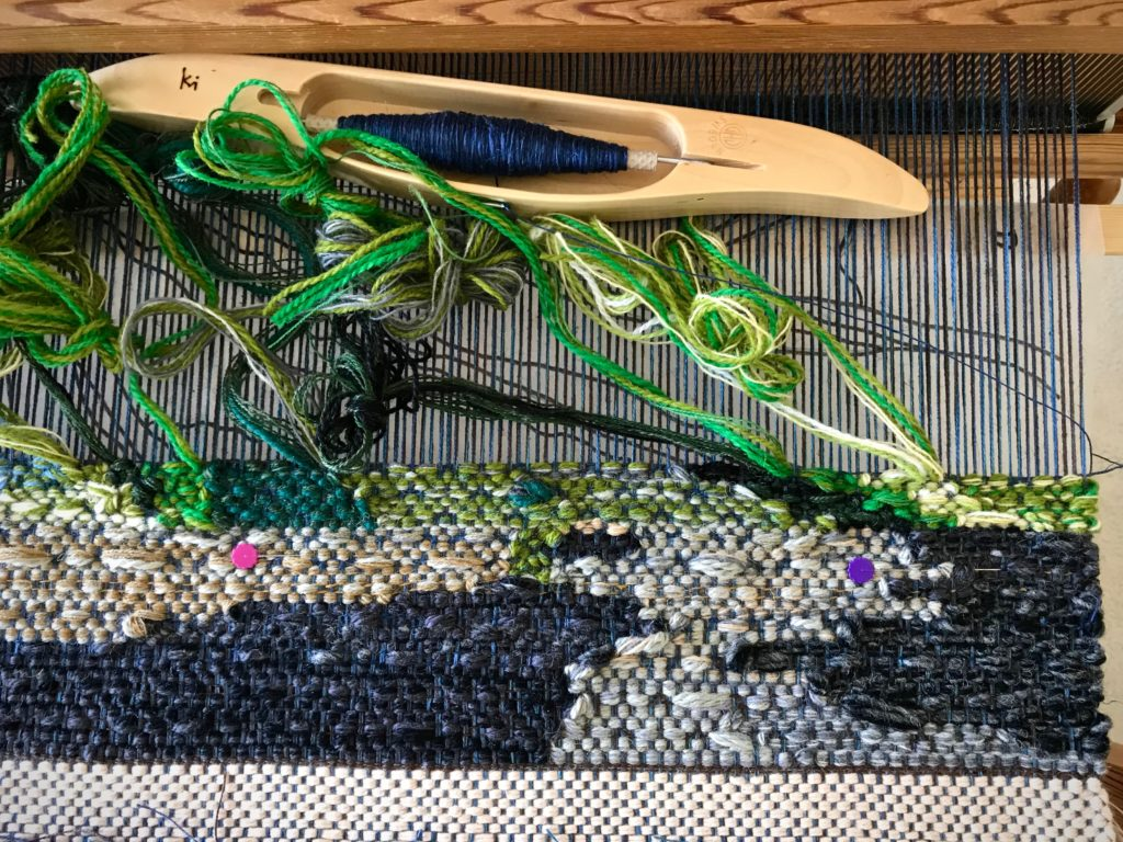 Beginning a new four-shaft tapestry.