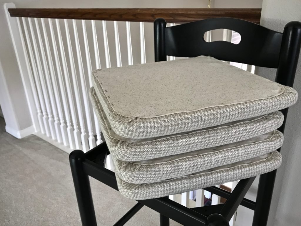 Four newly upholstered chair seats. Handwoven Upholstery.