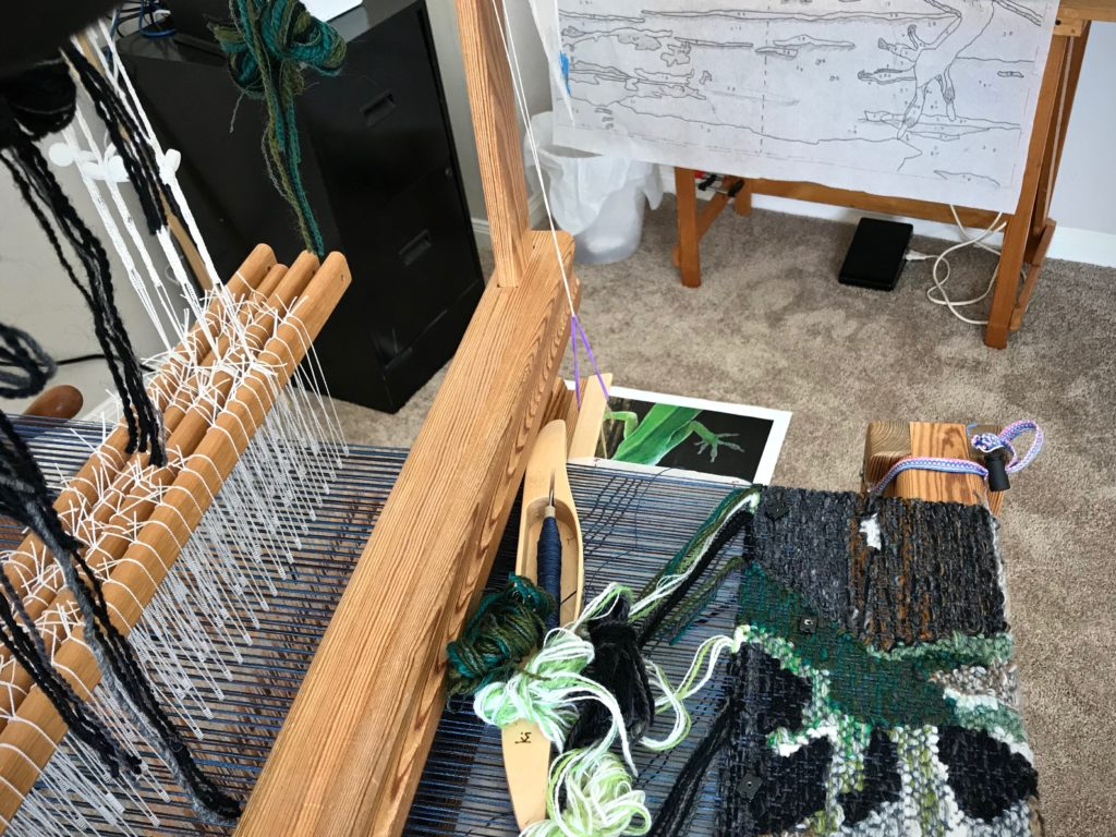 Lizard tapestry on Glimakra Ideal loom.