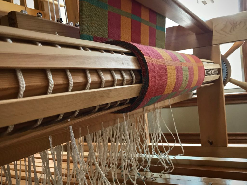 Cloth beam fills up with double weave towels.