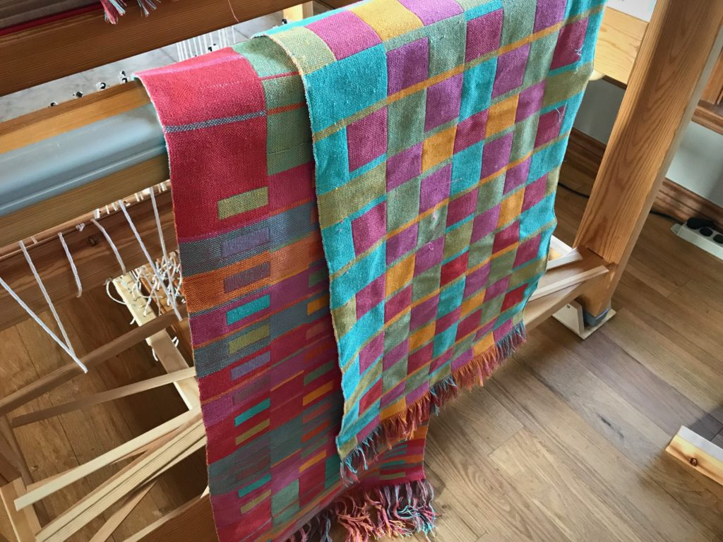 Double weave towels just off the loom.