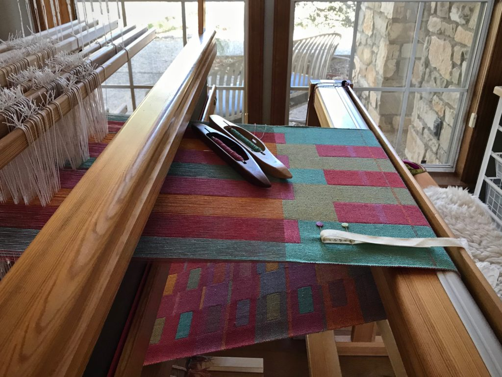 Double weave towels. Loom with a view!