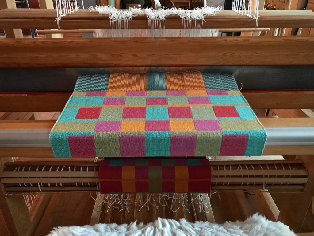 Double weave cottolin towels on the loom. Karen Isenhower