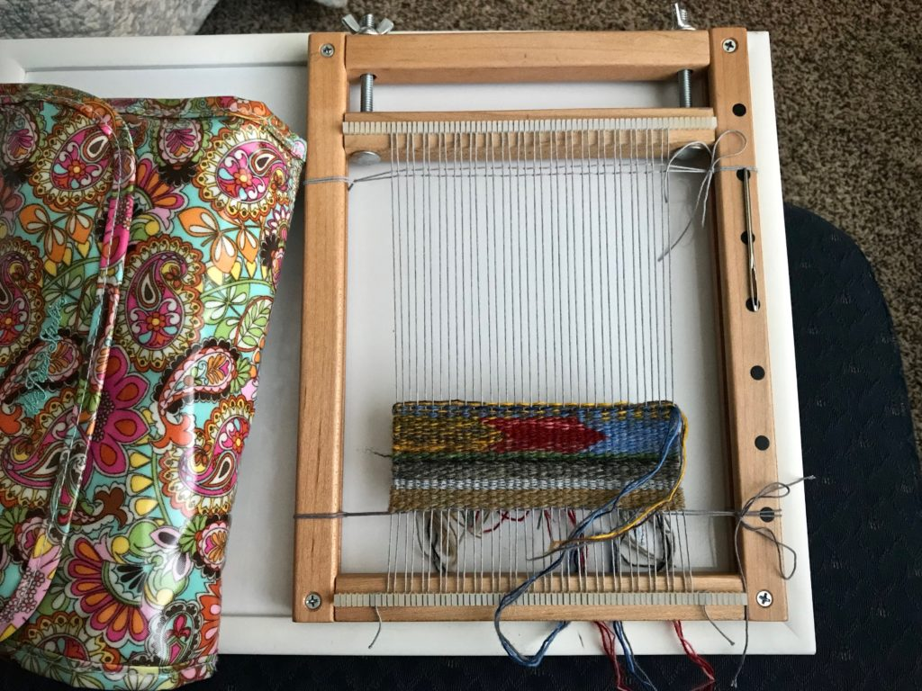Small frame-loom tapestry. Travel weaving!