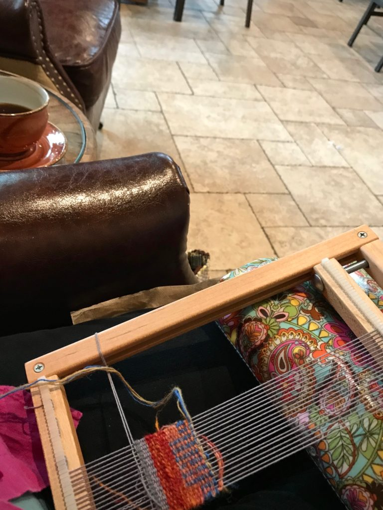 Coffee-shop weaving.