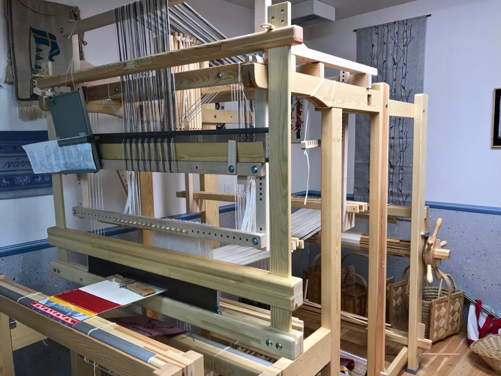 Single unit drawloom in Joanne Hall's weaving studio.
