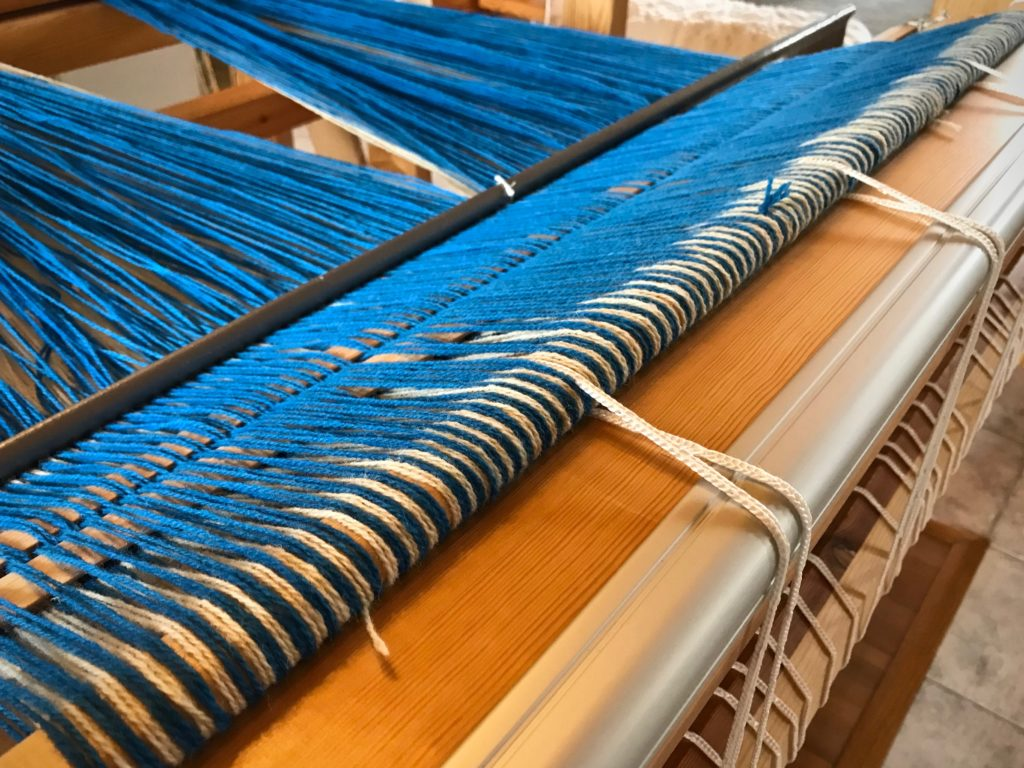 Ready to beam this wool double weave warp.
