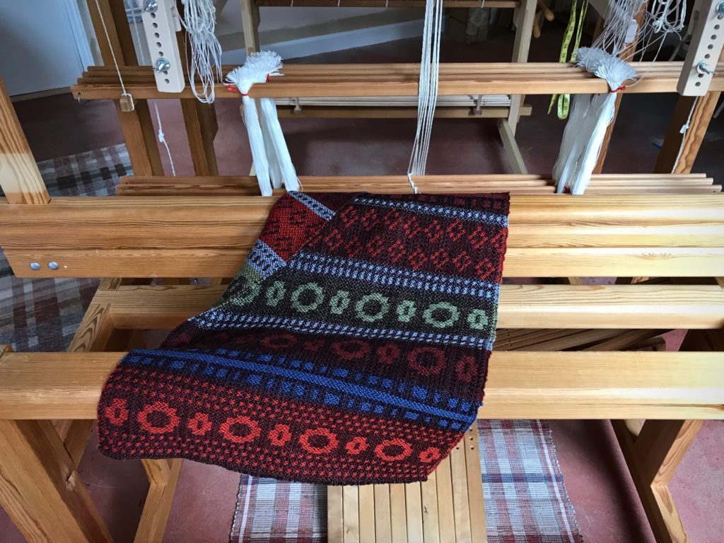 Wool shaft drawloom sampler.