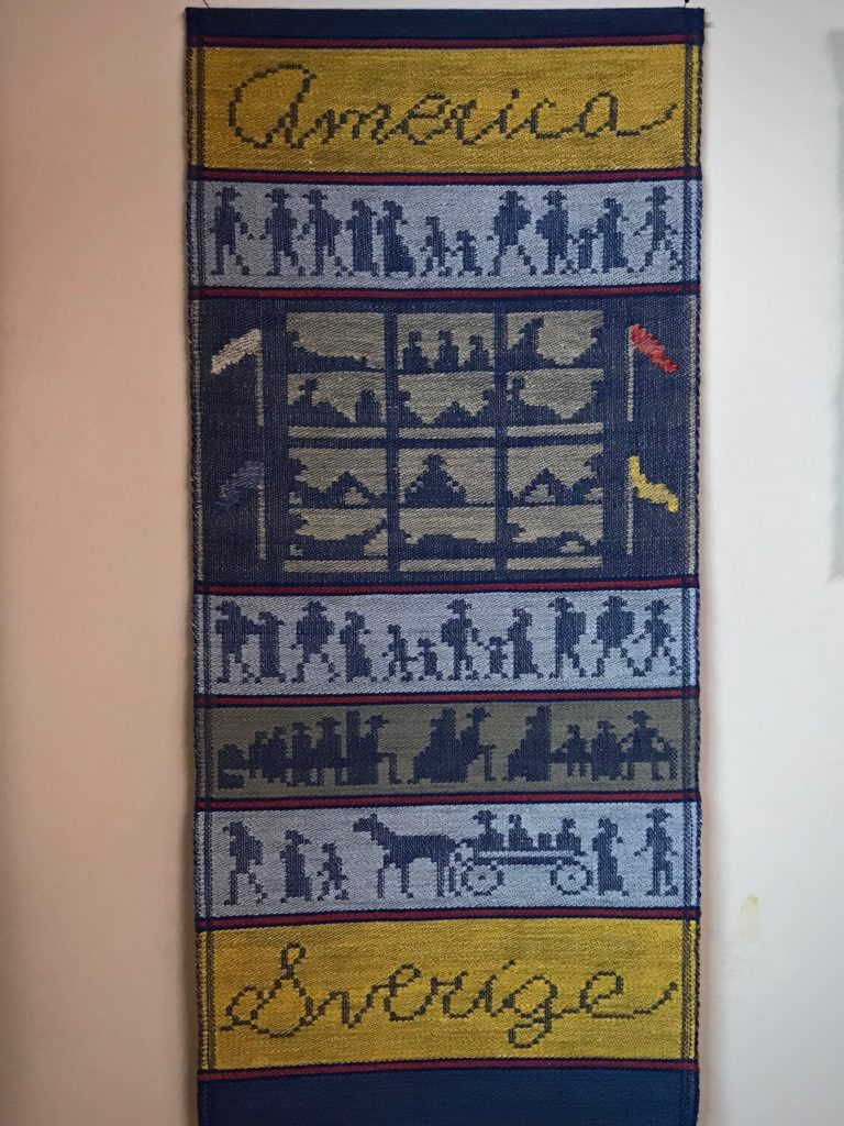 Story of the Immigrants, woven by Joanne Hall on single unit drawloom.