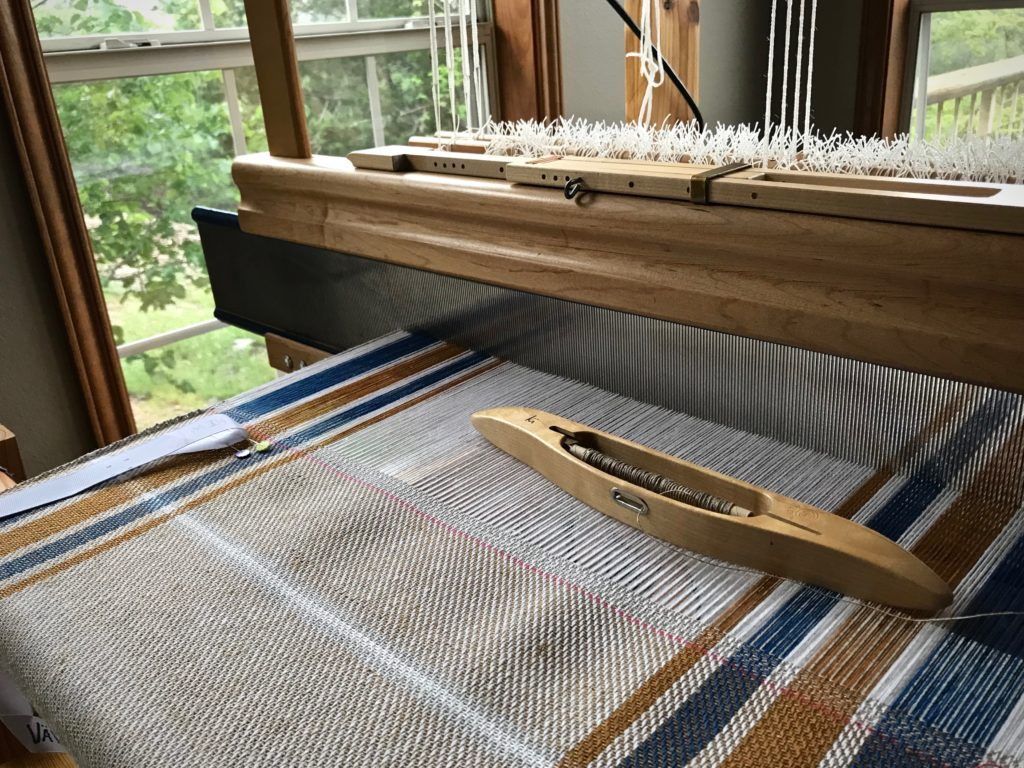 Cottolin warp and 8/1 tow linen weft.