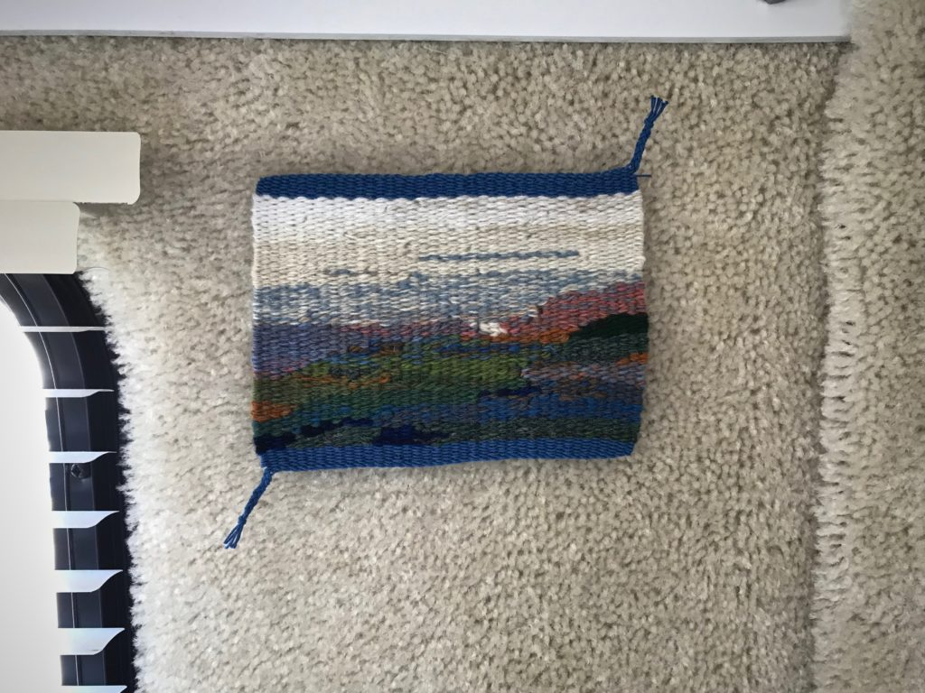 Small tapestry with finished and braided edges.