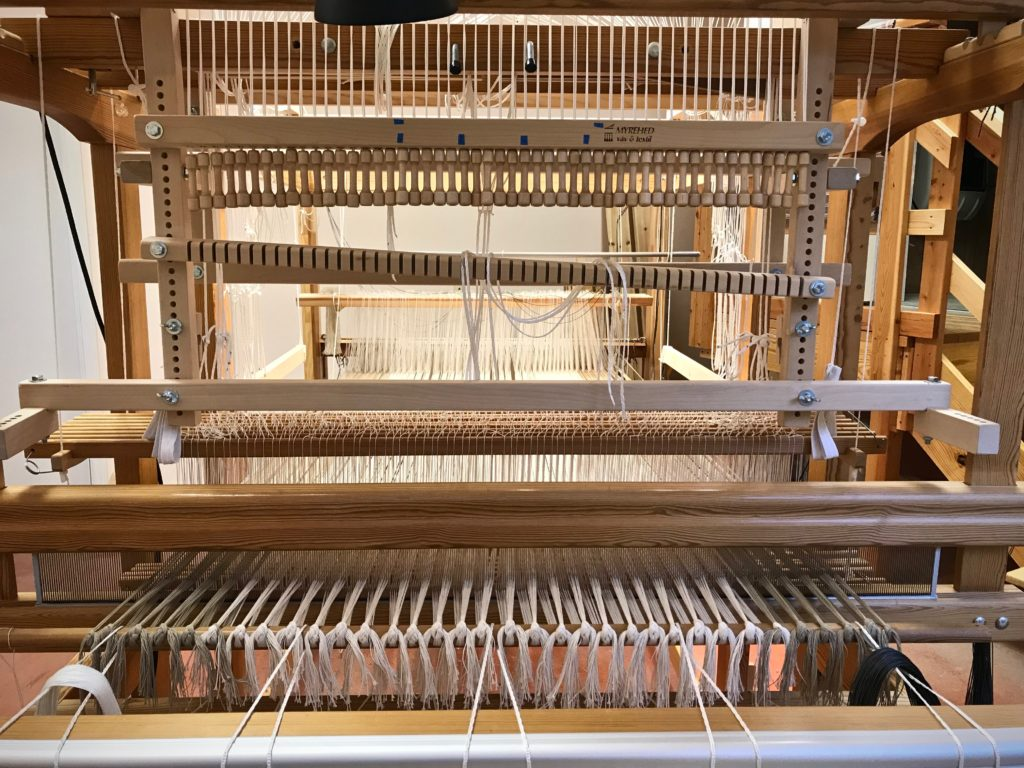 Drawloom getting set up for weaving rag rugs with single unit drawloom.
